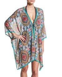 Red Carter Renaissance Printed Kimono Coverup Sea Green