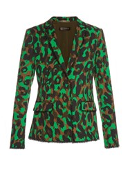 Versace Camouflage Print Stretch Cotton Gabardine Blazer Green Multi