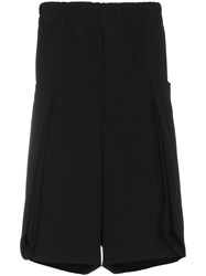 Comme Des Garcons Homme Plus Wool Shorts With Drawstring Waist Black