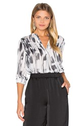Vince Stripe Covered Placket Blouse White