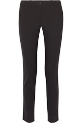 Michael Kors Collection Samantha Stretch Cotton Slim Leg Pants Black