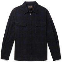 Beams Plus Checked Cotton Corduroy Zip Up Shirt Black