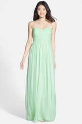 Donna Morgan 'Laura' Ruched Sweetheart Silk Chiffon Gown Plus Size Green