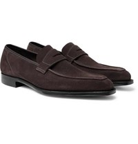 George Cleverley Suede Penny Loafers Dark Gray