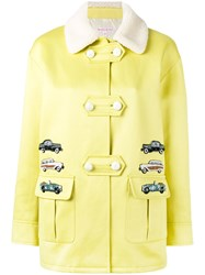Olympia Le Tan Car Motif Coat Cotton Green