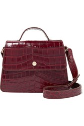 Elizabeth And James Eloise Mini Suede Trimmed Croc Effect Leather Shoulder Bag Burgundy