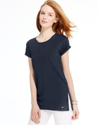 Tommy Hilfiger Cuffed Sleeve Side Split Tunic New Masters Navy