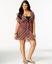 Becca Etc Plus Size Tribal Print Smocked Cover Up Women's Swimsuit Red Multi