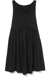 Hatch Fiona Gathered Cotton Blend Voile Mini Dress Black