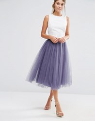 Little Mistress Tulle Midi Skirt Grey