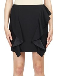Givenchy Ruffle Detail Wool Mini Skirt Black