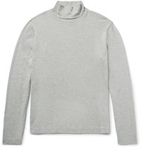Our Legacy Melange Cotton Jersey Rollneck T Shirt Gray