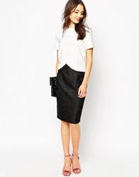 Traffic People Pencil Skirt In Damask Jacquard Black