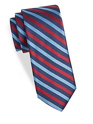 Saks Fifth Avenue Stripe Silk Tie Navy Red