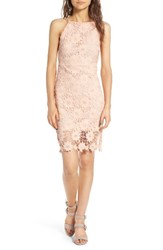Soprano Women's High Neck Lace Body Con Dress Pink