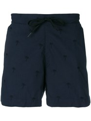 Tomas Maier Palm Tree Embroidered Shorts Blue