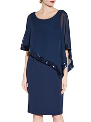 Gina Bacconi Crepe Dress And Sequin Chiffon Cape Spring Navy