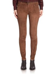 Paige Verdugo Super Skinny Suede Pants Dark Brown