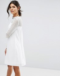 Elise Ryan High Neck Swing Dress With Lace Upper Ivory White