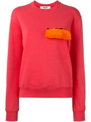 Msgm Fur Patch Sweatshirt Pink And Purple