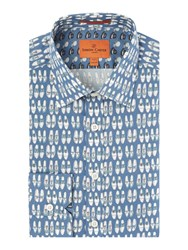 Simon Carter Shoe Print Shirt Blue