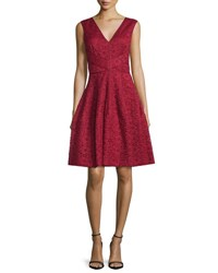 J. Mendel Sleeveless Lace Fit And Flare Dress Red