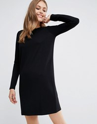 Asos Shift Dress In Ponte With Long Sleeves Black