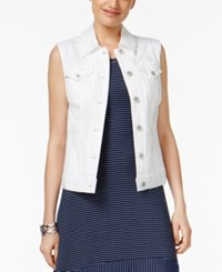 Style And Co Pocketed Denim Vest Only At Macy's Bright White