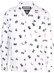 Neighborhood Pirate Flag Print Shirt White