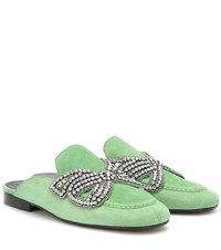 Isabel Marant Foyle Embellished Suede Slippers Green