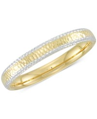 Signature Gold Two Tone Textured Bangle Bracelet In 14K And White Over Resin Two Tone