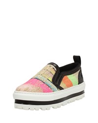 Msgm Multicolor Canvas Slip On Platform Sneaker Size 35.0B 5.0B C0l003