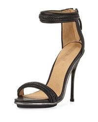L.A.M.B. Braided Leather High Heel Sandal Black