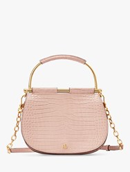 Ralph Lauren Enfield Mason 20 Croc Effect Leather Satchel Mellow Pink