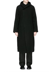 Ziggy Chen Shawl Collar Oversized Linen Wool Coat Black