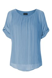 James Lakeland Silk 3 4 Sleeve Top Blue