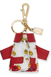 Dolce And Gabbana Leather Trimmed Floral Jacquard Keychain White