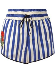 Off White Striped Shorts Blue