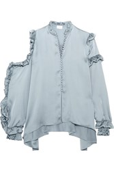Magda Butrym Lecce Cutout Ruffled Silk Satin Blouse Gray