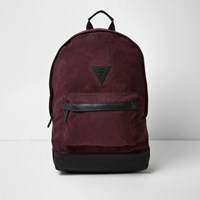 River Island Mens Red Faux Suede Backpack