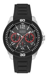 Guess W0967g1 Mens Silicone Strap Sports Watch Black