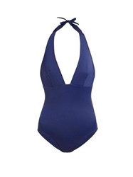 Talia Collins The Hold Up Halterneck Swimsuit Navy