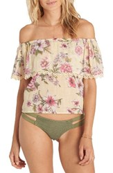 Billabong Women's Spring Fling Floral Print Off The Shoulder Top