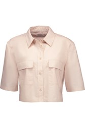 Equipment Signature Cropped Cotton Shirt Neutral