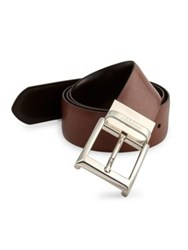 Canali Reversible Textured Calfskin Leather Belt Brown