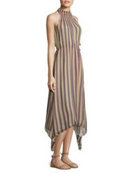 Derek Lam Striped Silk Mockneck Dress Ballet
