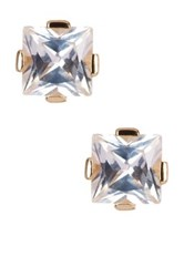 Savvy Cie 14K Gold Plated Sterling Silver Princess Cut White Quartz Stud Earrings Metallic