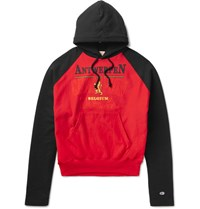 Vetements Champion Printed Loopback Cotton Blend Jersey Hoodie Red