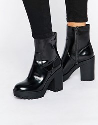 Monki Chunky Patent Heeled Ankle Boot Black