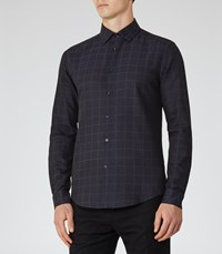Reiss Darlin Mens Slim Checked Shirt In Blue